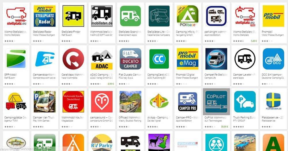 Stellplatzführer als App oder gedruckt,Apps für die Stellplatzsuche (Android)
